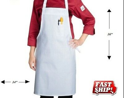 1 new white chefs commercial grade bib aprons polyester cotton commercial grade