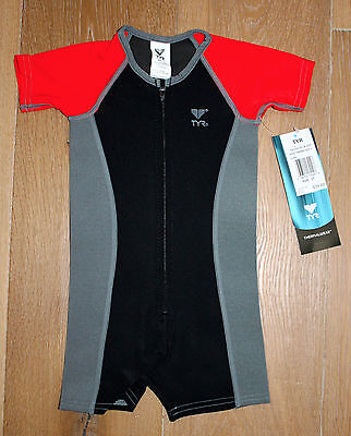 New TYR Boys / Youth Thermal NEOPRENE SWIM / WETSUIT - BLACK RED GRAY - Size 2T