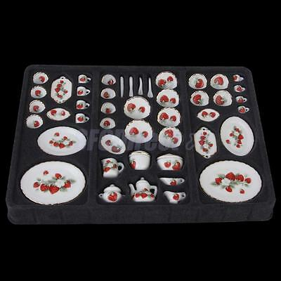 46p Dolls House Miniature Ceramic PORCELAIN Dishes Coffee Tea Set Strawberry
