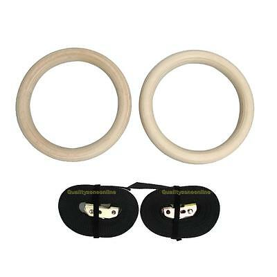 Pair of Wooden Wood Gymnastic Olympic Gym Rings w/ 2 Buckle Straps Hoops Workout