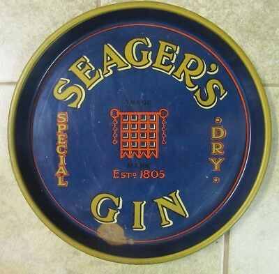Old SEAGER'S Gin Adv Tray bar pub tavern special dry estd 1805 liquor beer metal