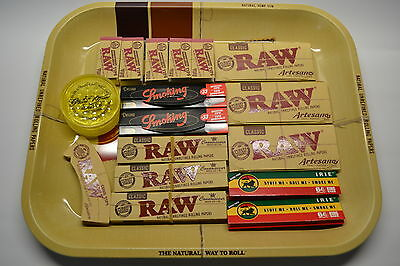 Raw Large Metal Rolling Tray Classic Rolling Papers Combo Gift Set Deal