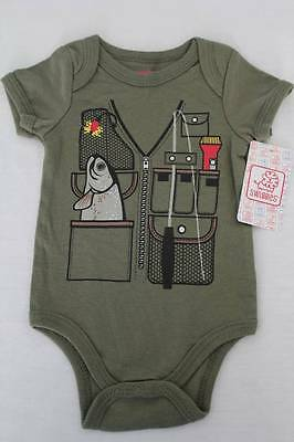 NEW Baby Boys Bodysuit 0 - 3 Months Fishing Creeper Outfit 1 Piece Infant Tackle