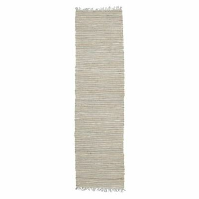 NEW Rug Culture Indra Jute & Leather Runner Rug, Silver Blue