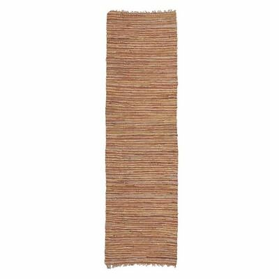 NEW Rug Culture Indra Jute & Leather Runner Rug, Brown