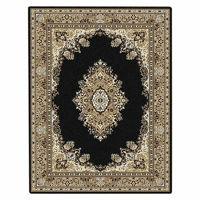 NEW Saray Rugs Trapped Tear Oriental Rug in Black, Brown, Red