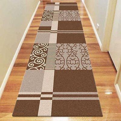 NEW Saray Rugs Scroll Stripe Modern Runner Rug in Brown