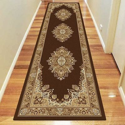 NEW Saray Rugs Trapped Tear Oriental Runner Rug in Brown