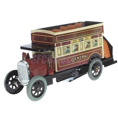Vintage Wind Up Tin Toy Double Decker General Omnibus Bus Metal Reproduction