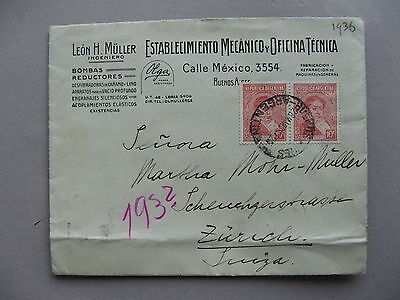 ARGENTINA, ill. cover to Switzerland 1936, pumpfactory