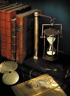 Bronzed 30 Minute Hourglass On Stand Wood Base Vintage Scholar Desk/Book End