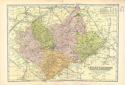 1902 Large Victorian County Map ~ Leicestershire & Rutlandshire ~ Populations