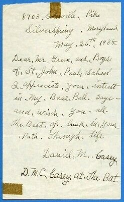 """Daniel Casey """"Casey at the Bat"""" Historic Handwritten and Signed Letter"""