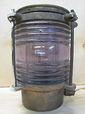 Old PERKO Brass HD Nautical Boat Ship Lamp Lantern thick ribbed glass converted