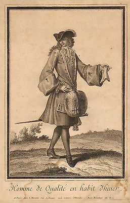 1683 Antique Print ~ French Fashion Costume ~  300+ Years Old ~ Scarce Image