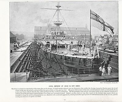 1897 Victorian Print Armoured Top Hms Sovereign Navy Battleship Descriptive Text Art