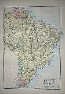 1876 Large Antique Victorian Map ~ South America Brazil Uruguay Paraguay Guayana