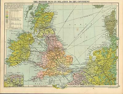 1919 Map  The British Isles In Relation To Continent Steamship Services Duration