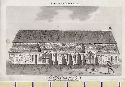 1797 Antique Small Georgian Print ~ Old Barn At Ely