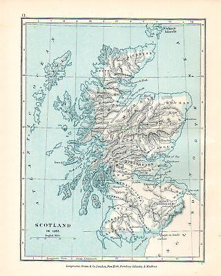 VICTORIAN MAP ~ SCOTLAND IN THE YEAR 1285 MULL IONA etc