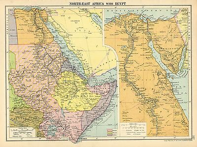 1929 Map ~ North-East Africa With Egypt Arabia Belgian Congo Sudan Cairo Nile