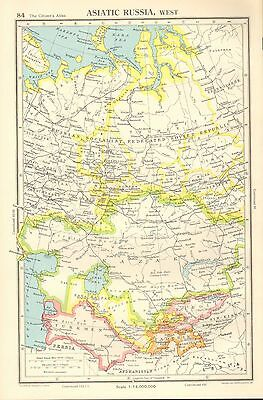 1952 Map ~ Asiatic Russia West ~ Socialist Fererated Soviet Kazak Kirgiz Tadzhik
