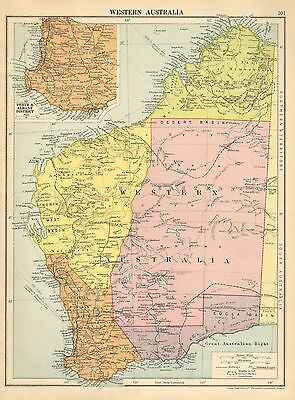 1929 Map ~ Western Australia ~ Inset Perth & Albany District Eucla