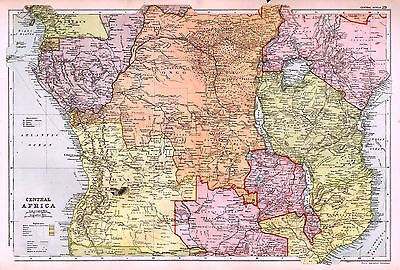 1912 Large Map ~  Central Africa ~ Congo State North West Rhodesia Angola Etc
