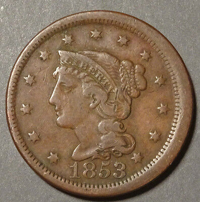 1853,   One cent,   United States,   This coin for your collection ?     Lot 222