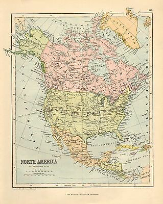 1880 Victorian Map ~ North America ~ United States Mexiico Canada West Indies