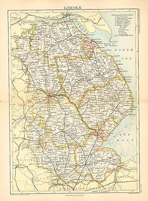 1892 Victorian County Map ~ Lincoln Parliamentary Divisions & Boroughs