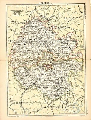 1892 Victorian County Map ~ Hereford ~ Parliamentary Divisions Leominster