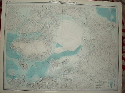 """1920 LARGE MAP ~ NORTH POLAR REGIONS ~ 23 INCHES x 18"""""""