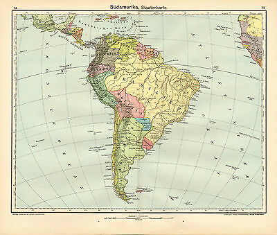 1908 Map ~ South America States ~ Brazil Bolivia Columbia Peru Uruguay Chile