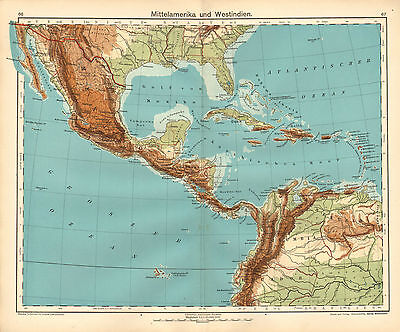 1908 Map ~ Central America & West Indies ~ Mexico Haiti Jamaica Cuba