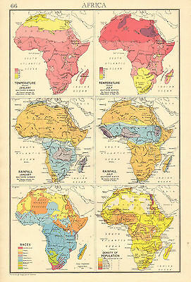 1942 Map Chart ~ Africa Showing Temperature For January & July Rainfall Races
