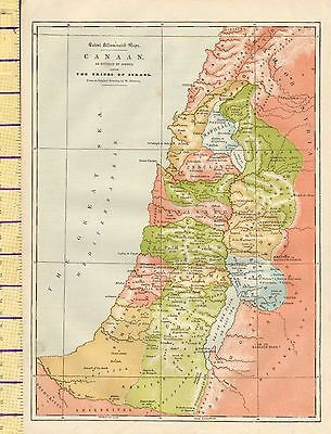 c1880 MAP ~ CANAAN DIVIDED BY JOSHUA AMONG THE TRIBES OF ISRAEL