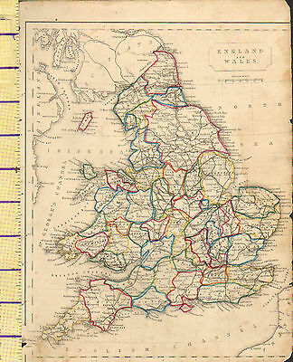c1815 MAP ~ ENGLAND & WALES ~ YORK SALOP SURREYSUSSEX KENT etc HAND COLOURED