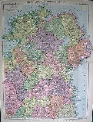 1934 Large Map ~ Northern Ireland Ulster & Northern Leinster Irish Free State
