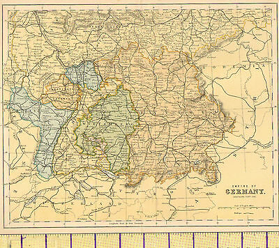 c1880 MAP ~ EMPIRE OF GERMANY SOUTHERN PORTION ~ WURTEMBERG BAVARIA