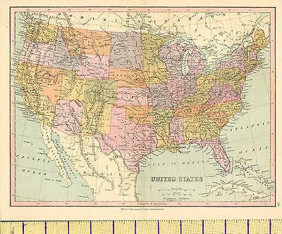 c1880 MAP ~ UNITED STATES ~ NEVADA UTAH TEXAS OHIO NEW YORK DAKOTA ALABAMA etc