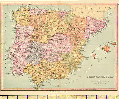 1880 Map ~ Spain & Portugal ~ Madrid Balearic Islands Andalusia Galicia