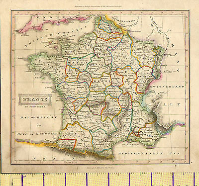 cXXXX MAP ~ FRANCE IN PROVINCES MAINE ORLEANOIS CHAMPAGNE NORMANDY HAND COLOURED