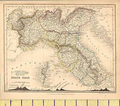 c1840 VICTORIAN MAP ~ NORTH ITALY SHOWING MOUNTAIN HEIGHTS