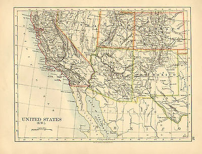 1897 Victorian Map ~ United States South West ~ California Arizona New Mexico