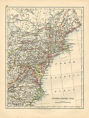 1897 Victorian Map ~ United States Of America North East New York Maine Carolina