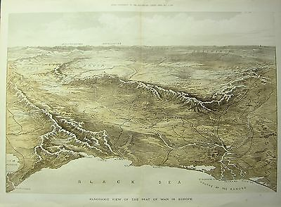 1877 MAP RUSSO-TURKISH SEAT of WAR LARGE PANORAMIC VIEW ILLUSTRATED LONDON NEWS