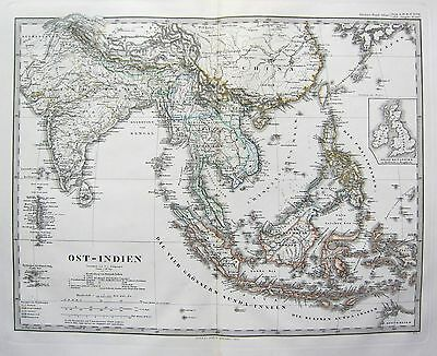 1870 Dated Map ~ India China Indonesia Philipinnes ~ Adolf Stieler Hand Colour