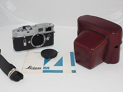 Leica M4 vintage 35mm film rangefinder chrome camera body. Exc. cond. with case.