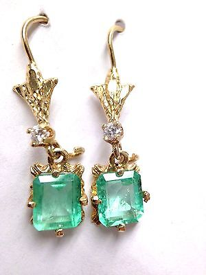2.5CTW Colombian Emerald and Diamond 14K Yellow Gold Vintage Drop Earrings